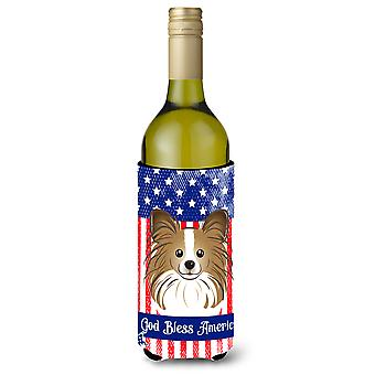 God Bless American Flag with Papillon Wine Bottle Koozie Hugger BB2178LITERK