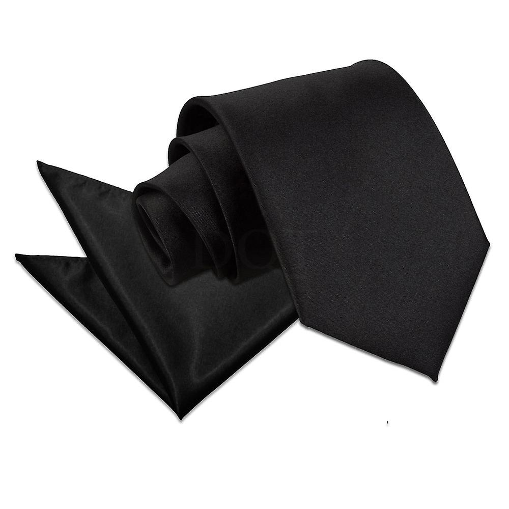 Plain Black Satin Tie 2 pc. Set