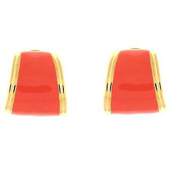 Kenneth Jay Lane Coral Enamel & Gold Plated Semi Hoop Clip On Earrings