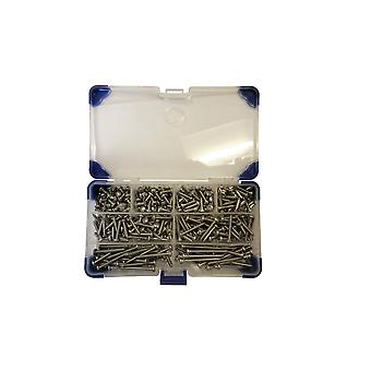 195 Piece No 10 (4.8mm)Stainless Steel Pozi Pan Head Self Tapping Screws Assorted Lengths