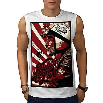 Wrong Shock Biker Ride Live Men White Sleeveless T-shirt | Wellcoda