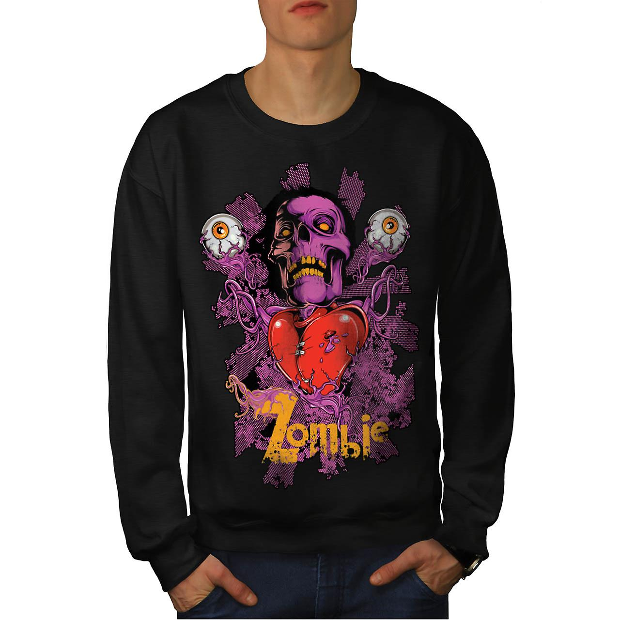 Zombie Crazy Eye Head Skull Love Men Black Sweatshirt | Wellcoda