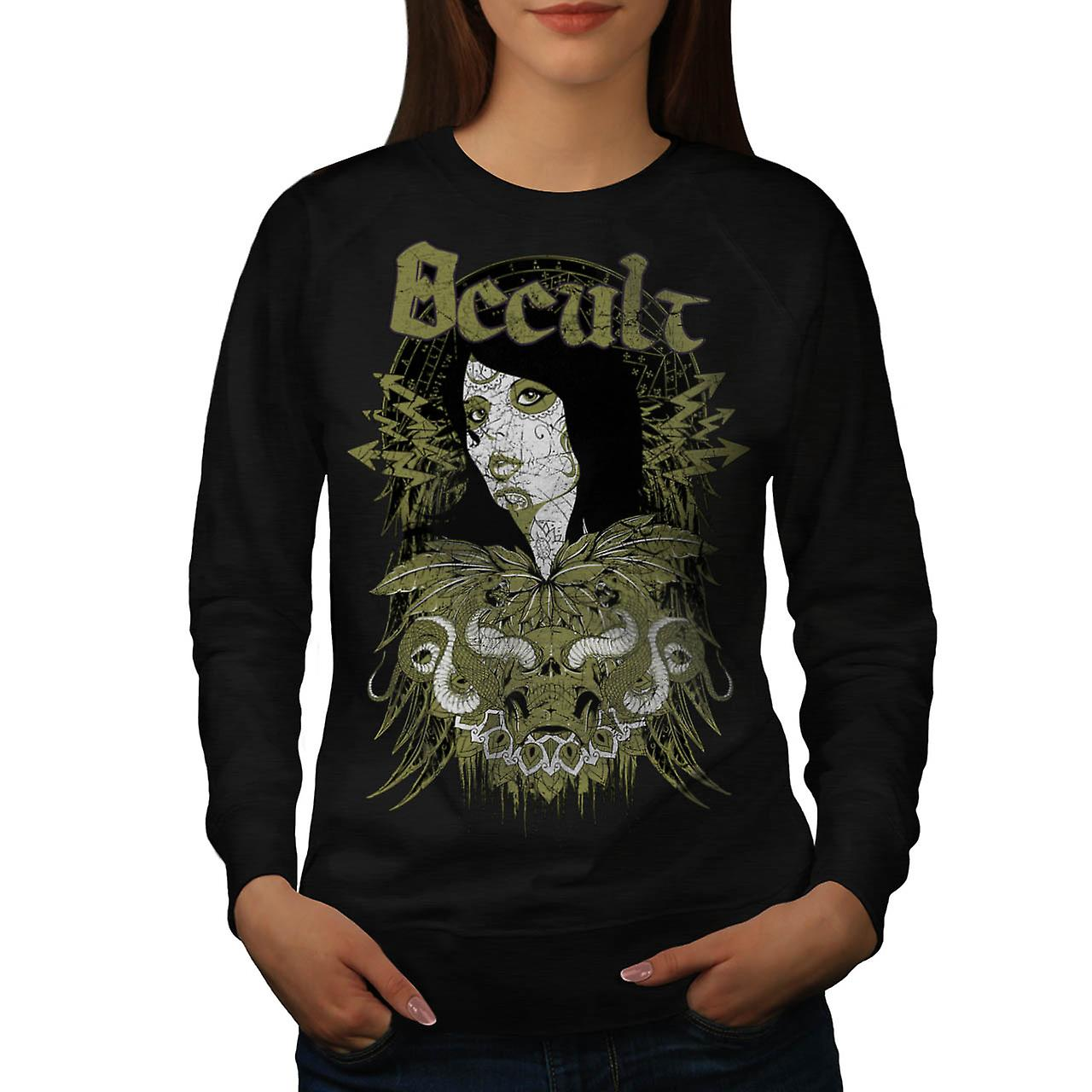 Occult Cult Lady Girl Pout Model Women Black Sweatshirt | Wellcoda