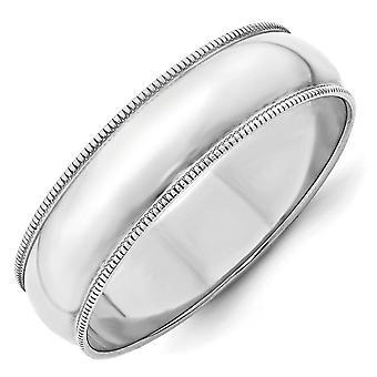14k oro bianco 6 millimetri Ltw Milgrain mezza fascia rotonda anello - anello Dimensione: 4-14