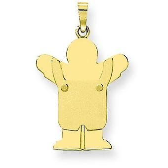 14k Gold Solid Satin Engraveable Boy with Overalls Charm - 2.3 Grams