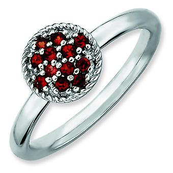 Sterling Silver Stackable Expressions Garnet Rhodium Ring - Ring Size: 5 to 10