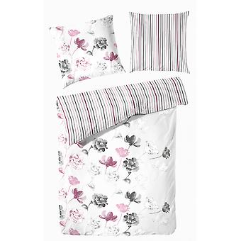 TAP precious flannel reversible bed linen 140 x 200 cm flowers and stripes
