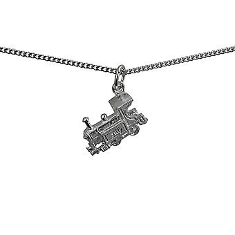 Silver 15x6mm Train Pendant with a curb Chain 18 inches