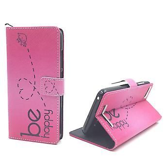 Mobile phone case pouch for mobile WIKO Lenny 3 be happy pink
