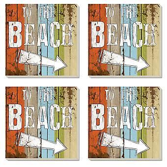 Til stranden underskrive 4 tommer kvadrat absorberende sten coastere sæt af 4