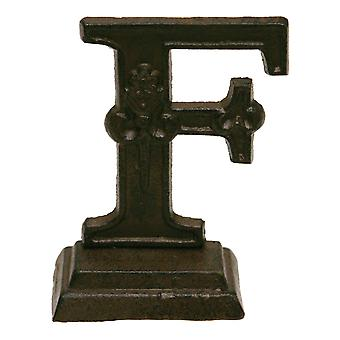 Iron Ornate Standing Monogram Letter F Tabletop Figurine 5 Inches