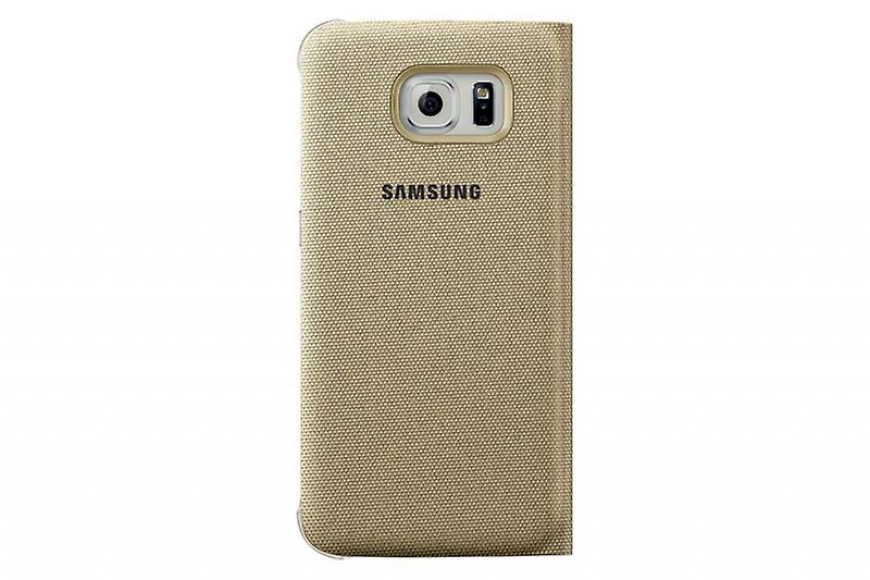Genuine Samsung Galaxy S S6 Flat View Cover Fabric gold EF CG920BFEGWW