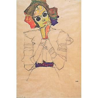 Egon Schiele - Girl with yellow and orange Poster Print Giclee