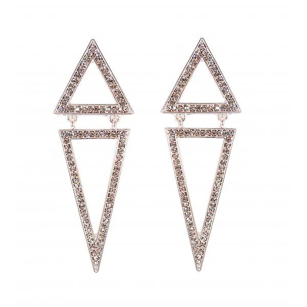 W.A.T Silver Style Pointed Diamond Shaped Crystal Earrings