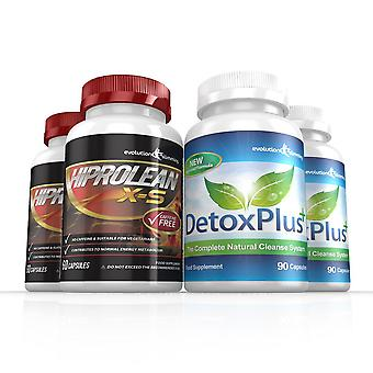 Hiprolean X-S Caffeine Free Fat Burner Cleanse Combo Pack - 2 Month Supply - Fat Burner and Colon Cleanse - Evolution Slimming