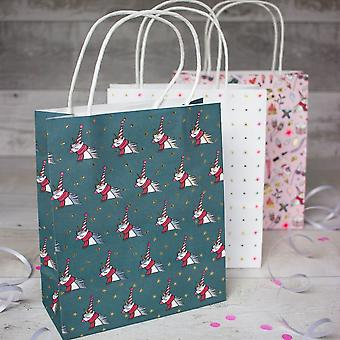 Unicorn Themed Christmas Gift Paper Bags Pack of 3 Bags Xmas Wrapping