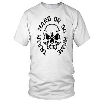 Trene hardt eller gå hjem Skull Fitness Gym trening Bodybuilding damer T skjorte