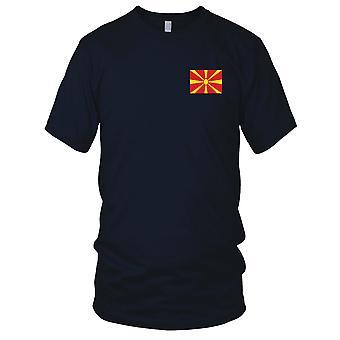 Nationalflagge Mazedonien Land - Stickerei Logo - 100 % Baumwolle T-Shirt Kinder T Shirt