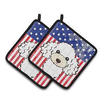 American Flag and White Poodle Pair of Pot Holders