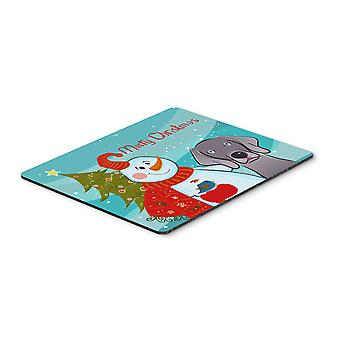 Snowman with Weimaraner Mouse Pad, Hot Pad or Trivet