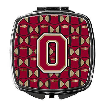 Letter O Football Garnet and Gold Compact Mirror