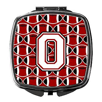 Letter O Football Cardinal and White Compact Mirror