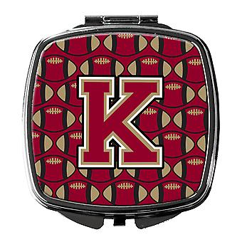 Letter K Football Garnet and Gold Compact Mirror