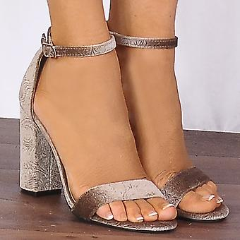 Shoe Closet Taupe Baroque Velvet Barely There Strappy Sandals High Heels