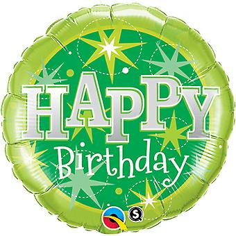Qualatex 18 Inch Round Green Sparkle Happy Birthday Foil Balloon