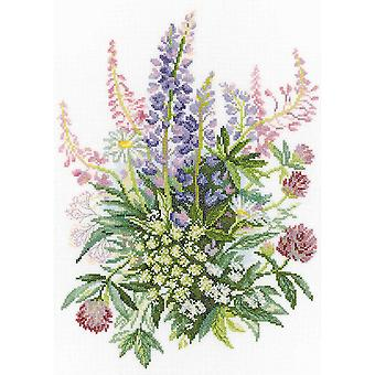 Clover & Lupines Counted Cross Stitch Kit-10.25