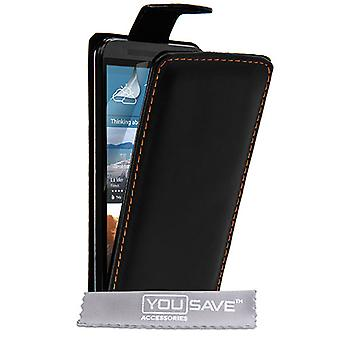 Yousave Accessories HTC M9 Leather-Effect Flip Case - Black
