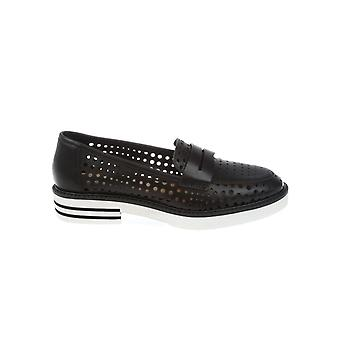 Donnapiu' women's 52876RACHELEVACCHETTANERO black leather moccasins