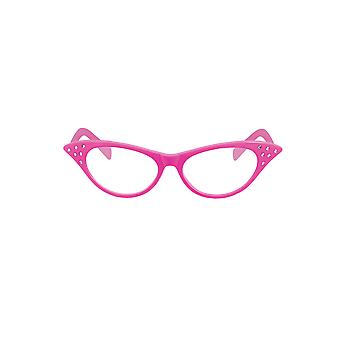 Adult Novelty 50's Pink Clear Lense Glasses with Silver Diamante