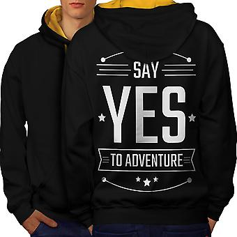 Yes To Adventure Funny Men Black (Gold Hood)Contrast Hoodie Back | Wellcoda
