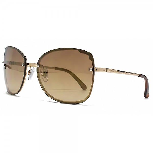 French Connection Cut Out Rimless Sunglasses In Shiny Gold