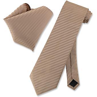 Vesuvio Napoli Striped NeckTie & Handkerchief Matching Tie