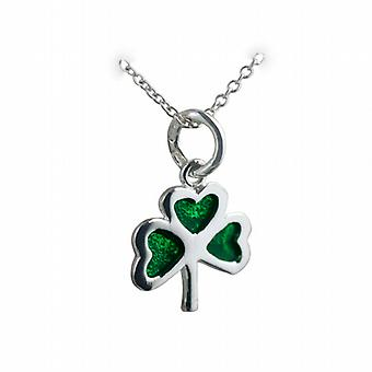 Silver 13x13mm Shamrock with green cold cure enamel Pendant with a rolo Chain 24 inches
