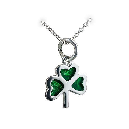 Silver 13x13mm Shamrock with green cold cure enamel Pendant with a rolo Chain 18 inches
