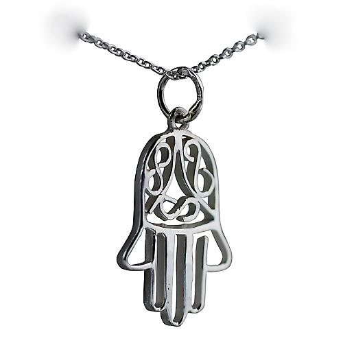 Silver 24x12mm Fatima Pendant with a Rolo chain