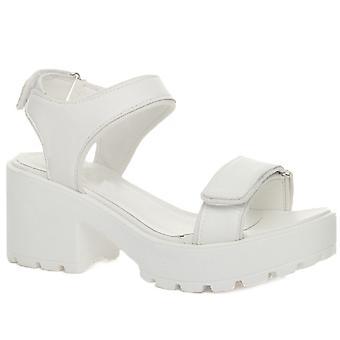 Ajvani womens chunky sole block mid heel hook & loop strap summer sporty sandals