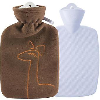 Hugo Frosch Hot Water Bottle With Luxury Fleece Cover Chocolate 1.8L