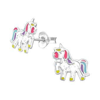 Unicorn - 925 Sterling Silver Colourful Ear Studs - W35140x