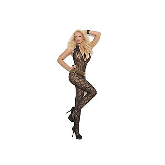 Elegant Moments EM-1608 Deep V Lace Bodystocking with Open Crotch