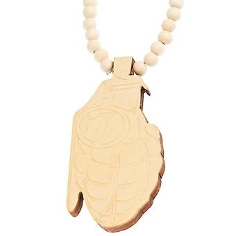 Wood style Bead Necklace - beige GRENADE
