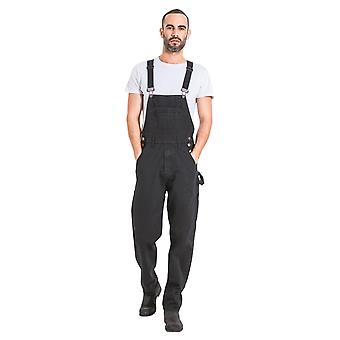 Mens Relaxed Fit Denim Dungarees - Black Value Bib Overalls Low Cost dungarees