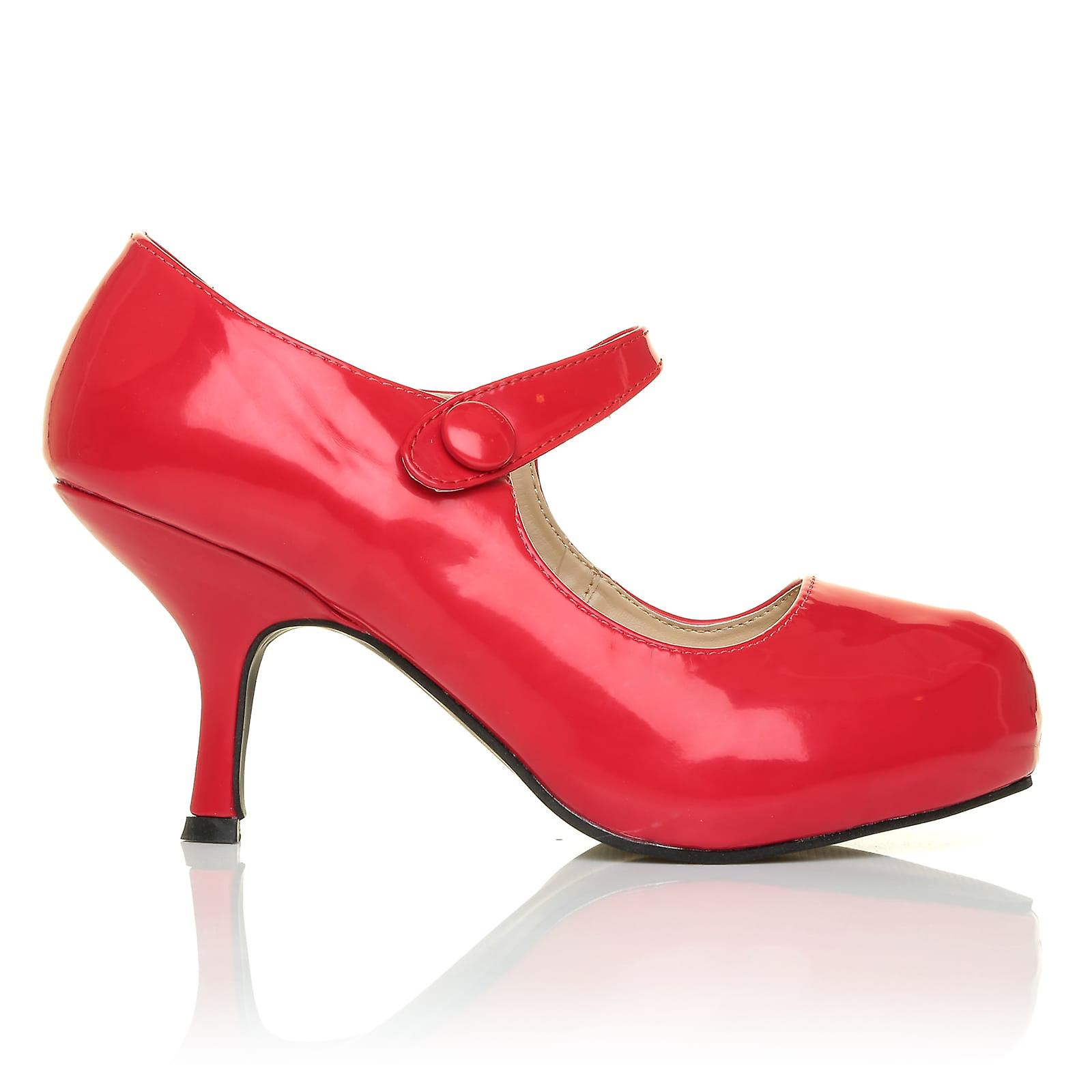 H213 Red Patent PU Concealed Leather Kitten Mid Heel Concealed PU Platforms Mary Jane Shoes b59f3a