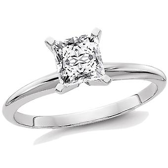 9/10 Carat (1.00 Ct. Look) Princess Cut Synthetic Moissanite Solitaire Engagement Ring 14K White Gold
