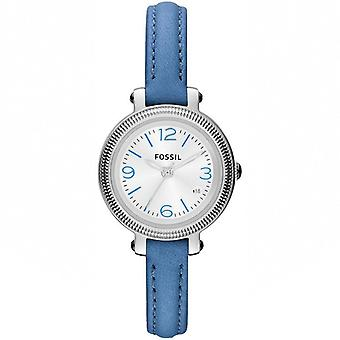 Fossila Ladies' blått läder Heather Watch ES3304