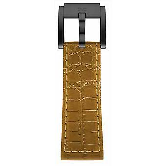 TW steel Marc Coblen Bracelet Watch band 22 MM cuir crocodile brun LB_BR_K_B