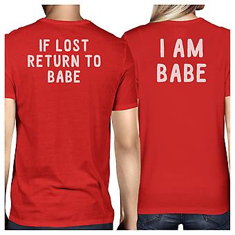 If Lost Return To Babe Red Matching T-Shirts Funny Couples Gifts